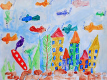 Child's drawing with fishes in the aquarium Royalty Free Stock Photos