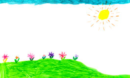 Child`s drawing of flowers Royalty Free Stock Photos