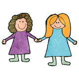 Child's drawing of friends together Stock Images