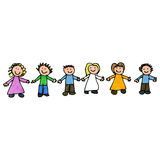 Child's drawing of friends together Stock Photo
