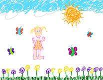 Child's drawing of fun outside Royalty Free Stock Photography