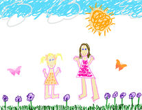 Child's drawing of fun outside Stock Photos
