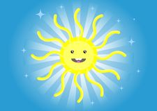 Child`s drawing. Funny sun Stock Images