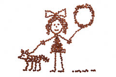Child's drawing girl with a balloon walking with a dog from coffee beans. On white background royalty free stock image