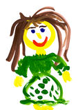 Child's drawing. girl in a green dress Stock Image