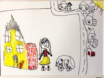 Child`s drawing of a girl by a house in a neighborhood stock image