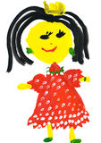 Child's drawing. girl in a red dress Royalty Free Stock Photo