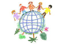 Child's drawing with globe Stock Photography