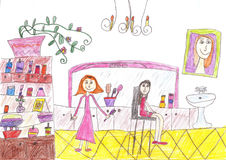 Child`s drawing of a hair salon. A beautiful girl visit the hair salon to receive an haircut Stock Photos