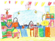 Child`s drawing of a hair salon. A beautiful girl visit the hair salon to receive an haircut Royalty Free Stock Photography
