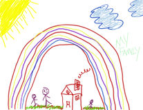 Child's Drawing of Happiness. Child like drawing of a happy day with family at home Stock Photo