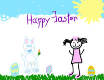 Child's drawing of a Happy Easter Royalty Free Stock Photography