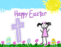 Child's drawing of a Happy Easter Stock Photography