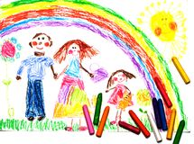 Child's Drawing of happy family. Under the rainbow Stock Images