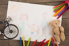 Child`s drawing of a happy family. Child`s drawing of happy family stock image