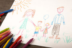 Child`s drawing of a happy family Royalty Free Stock Photo