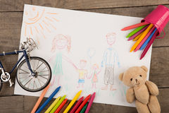 Child`s drawing of a happy family. Child`s drawing of a family royalty free stock photo