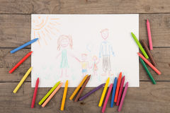 Child& x27;s drawing of a happy family. Child& x27;s drawing of happy family royalty free stock photo