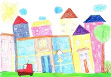 Child drawing happy family, building, car. Child drawing the lives of people in the city, building, car stock photos