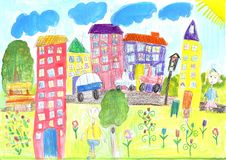Child drawing happy family, building, car. Child drawing the lives of people in the city, building, car royalty free stock photos