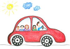 Childs drawing happy family on the car trip. Father, mother, two daughters and son Stock Image