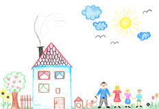 Childs drawing happy family with dog. Father, mother, daughter, son and their big house stock illustration