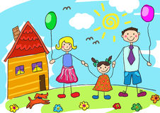 Child's drawing happy family with dog. Father, mother, daughter and their house. Stock Image