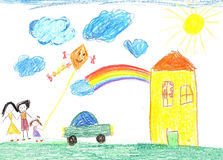 Child`s drawing happy family, house, car. Child`s drawing happy family, country house and car Stock Photo