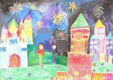 Child's drawing happy family. Man and woman watching fireworks Royalty Free Stock Photo