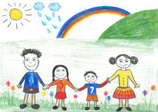 Childs drawing happy family and rainbow. Father, daughter, mother and son on the trip Royalty Free Stock Image