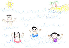 Childs drawing happy family in sea. Childs drawing happy family swimming in sea. Father, mother, daughter and son on holidays Royalty Free Stock Photos