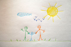 A child's drawing of a happy family Stock Photography