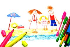 Child's Drawing of happy family on a vacation Stock Photo