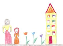 Child`s drawing of a happy family on a walk outdoors. Nature, Flowers, Butterflies royalty free stock image