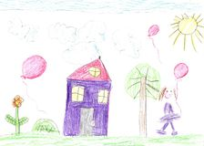 Child`s drawing of a happy family on a walk outdoors. Nature, Flowers, Butterflies stock photos