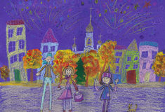 Child`s drawing happy family watching fireworks Stock Image