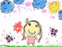 Child's drawing a happy girl with flower Royalty Free Stock Photo