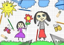 Child's drawing a happy girl gives flower for mother's day Royalty Free Stock Image