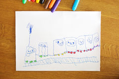 Child's drawing: happy train Stock Photography
