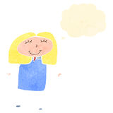 Child's drawing of a happy woman with thought bubble Stock Image