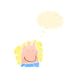 Child's drawing of a happy woman with thought bubble Stock Photo
