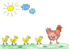 Childs drawing Hen with cute chickens. Hen with cute chickens on spring, childs drawing vector illustration