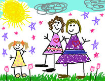 Child's Drawing of Her Family. Child's drawing of her happy family life on a sunny day Stock Image
