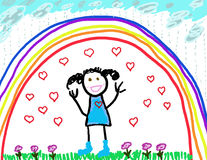 Child's Drawing of Herself Protected & Happy. Child's drawing of herself happy & shielded from anything bad Stock Image