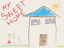 Child's drawing of his home and family Royalty Free Stock Images