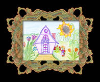 Child's drawing at home . Child's drawing at home in the garden, in an elegant frame vector illustration