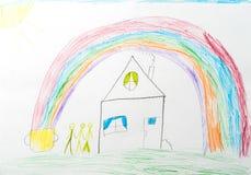 Child`s drawing. home rainbow happy family Stock Photos