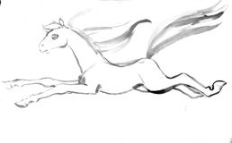 Child& x27;s drawing horse.  Royalty Free Stock Image