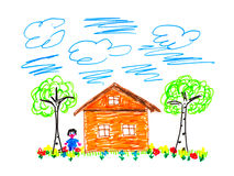 Child's drawing house Stock Photo