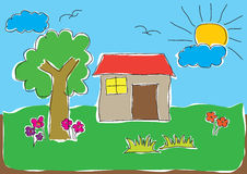 Child's Drawing of House Stock Photography